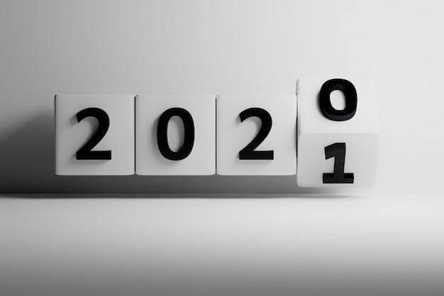 Änderung der jahreszahl 2020 und 2021 auf weißen würfeln