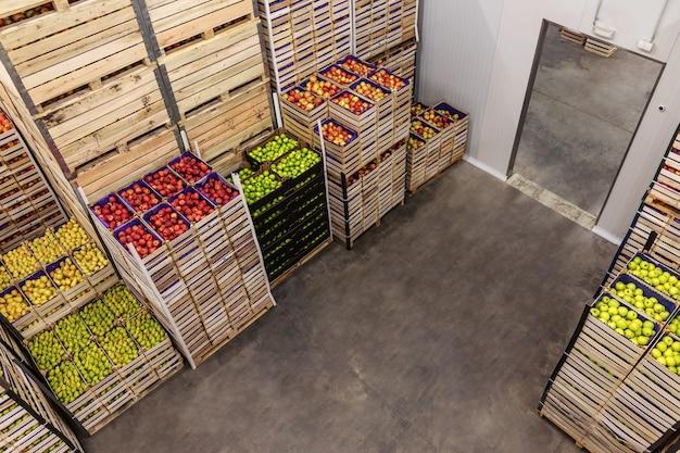 Äpfel und birnen in kisten versandfertig