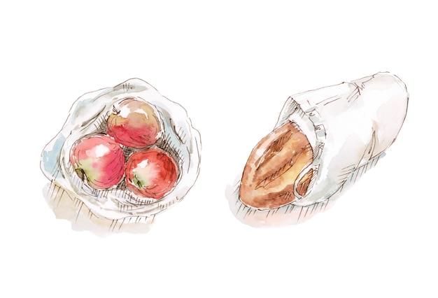 Äpfel und brot in öko-beuteln aus dem laden, abbildung