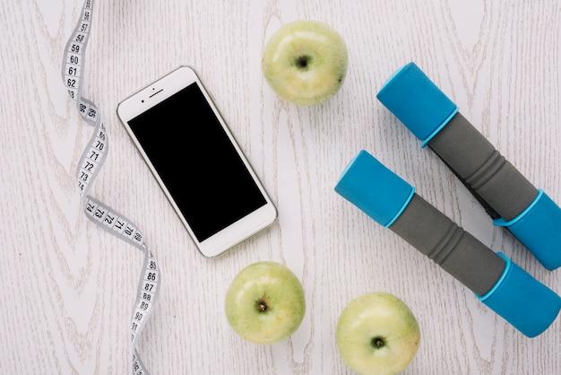 Äpfel und sportgeräte