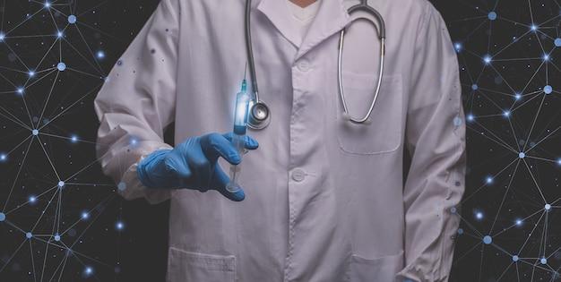Ärzte mit spritzen bereiten sich darauf vor, menschen auf der ganzen welt zu behandeln