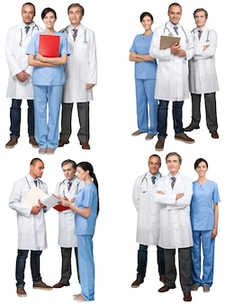 Ärzteteam zusammen im modernen krankenhaus, collage