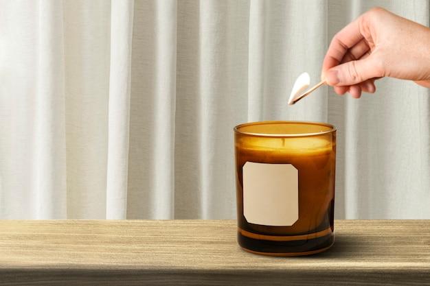 Ästhetische aromakerze aus glas, wohnkultur