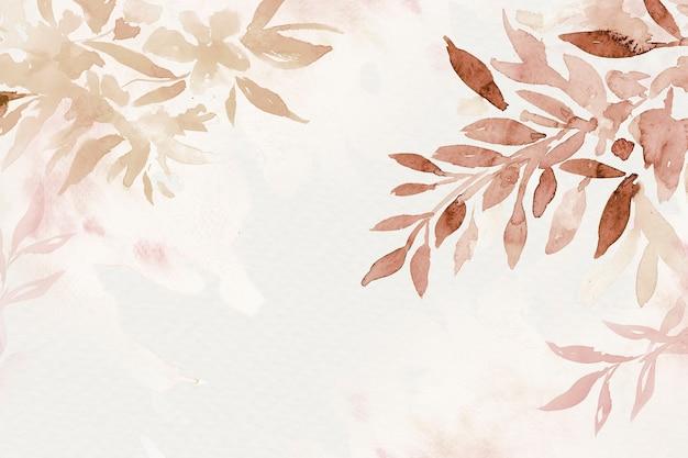 Ästhetische herbstsaison des braunen aquarellblatthintergrundes