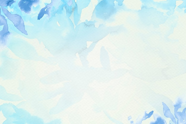 Ästhetische wintersaison des blauen aquarellblatthintergrundes