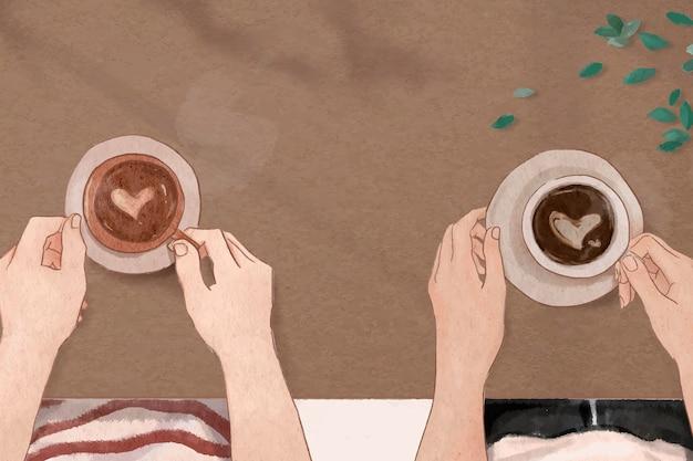 Ästhetischer illustrationshintergrund des perfekten kaffeedatums valentinsgruß