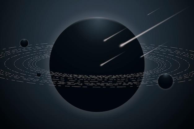 Ästhetischer planetengalaxiehintergrund im farbverlauf grau und blau