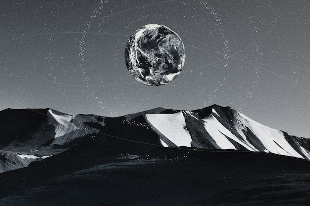 Ästhetisches universum naturhintergrund erde und berg remixed media