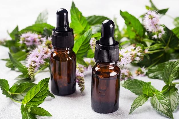 Ätherisches aromaöl in dunklen glasflaschen mit pfefferminze