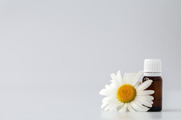 Ätherisches öl aus kamillentinktur in kosmetikflasche. frische kamillenblüten