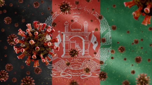 Afghanische flagge, die mit coronavirus-mikroskopvirus weht