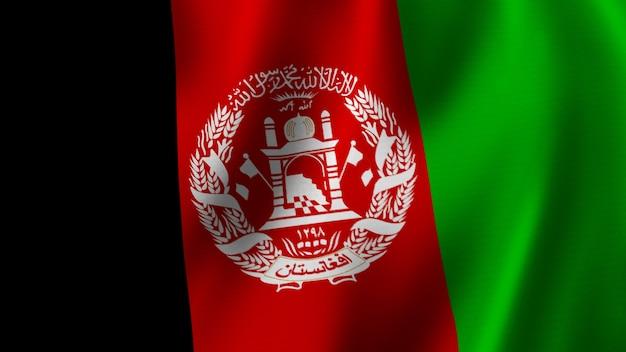 Afghanistan fahnenschwingen nahaufnahme 3d-rendering mit hochwertigem bild mit stoffstruktur