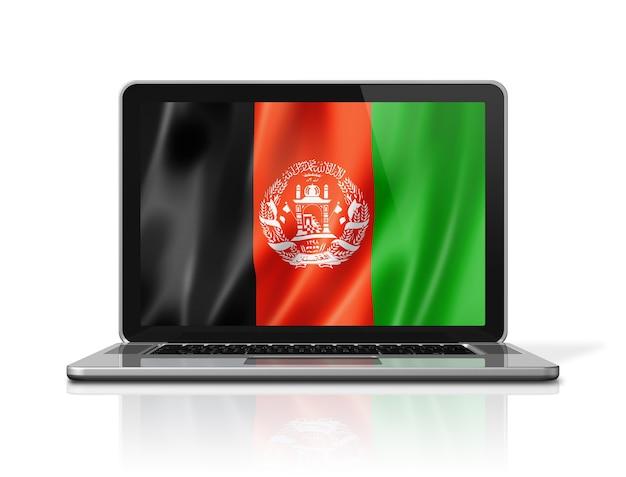 Afghanistan-flagge auf laptop-bildschirm isoliert auf weiss. 3d-darstellung rendern.