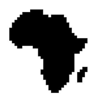 Afrika-kartensilhouette aus schwarzen quadratischen pixeln. vektor-illustration.