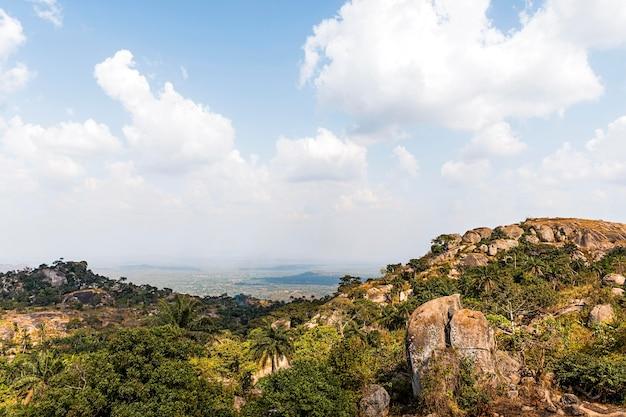 Afrikanische naturlandschaft mit bewölktem himmel