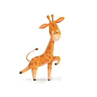 Afrikanische tierillustration der kleinen giraffe der netten karikatur wild lebenden tiere.