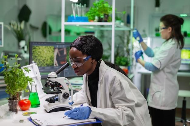 Afrikanischer biochemie-arzt, der chemische tests mit mikroskop für genforscher untersucht. biologe-spezialist entdeckt organische gvo-pflanzen während der arbeit im mikrobiologischen lebensmittellabor.