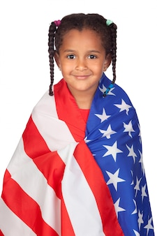 Afrikanisches kleines mädchen mit einer amerikanischen flagge