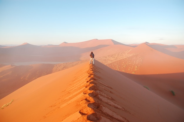 Afrikanisches wüstenabenteuer. fotograf, der fotos von sonnenaufgangsanddünen von namibischer wüste macht. namibia, südafrika