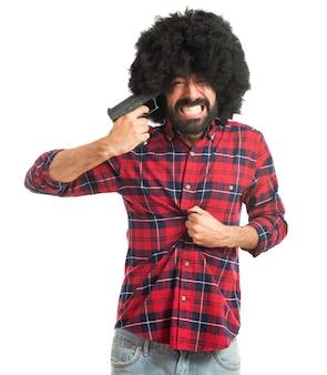Afro-mann, der selbstmord begeht
