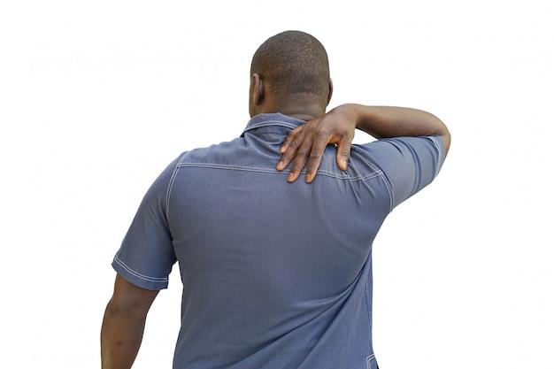 Afroamerikanermann mit schulterschmerzen
