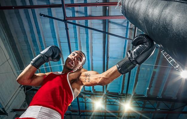 Afroamerikanischer männlicher boxer.