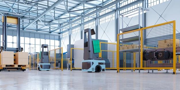 Agv-roboter sortieren effizient hunderte von paketen pro stunde (automated guided vehicle) agv.3d-rendering