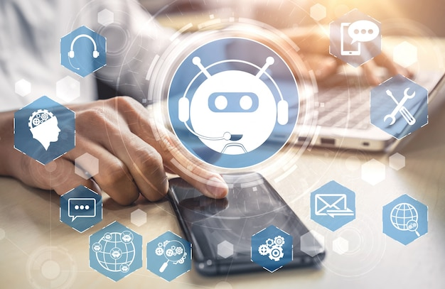 Ai chatbot smart digital kundenservice anwendungskonzept.