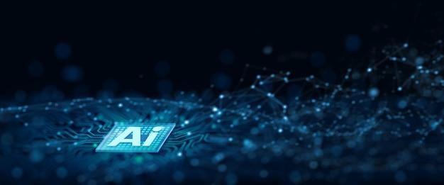 Ai-chipsatz auf der computerplatine. künstliche intelligenz, data mining und deep learning moderne computertechnologie. ai-cpu-konzept. 3d-rendering.