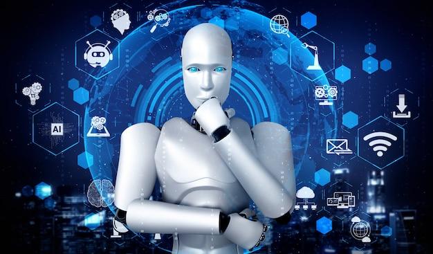 Ai humanoider roboter, der hologrammbildschirm analysiert