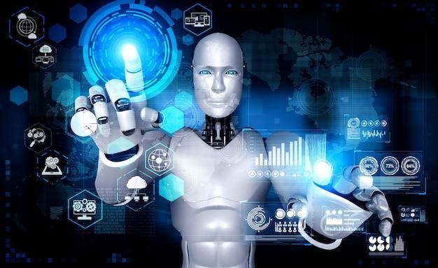 Ai humanoider roboter, der hologrammbildschirm berührt, zeigt konzept