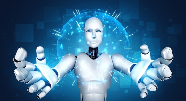 Ai humanoider roboter, der hologrammbildschirm hält, zeigt konzept der globalen kommunikation