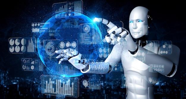 Ai humanoider roboter, der virtuellen hologrammbildschirm berührt, der das konzept von big data zeigt