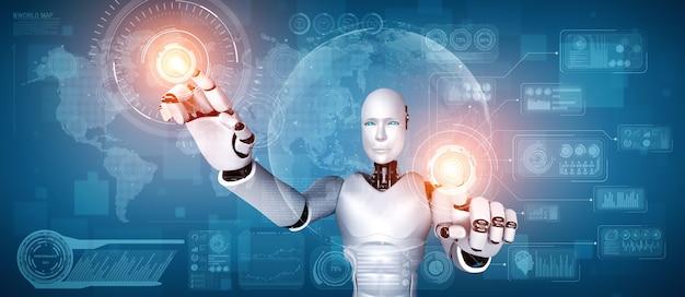 Ai humanoider roboter, der virtuellen hologrammbildschirm berührt, der konzept von big data zeigt