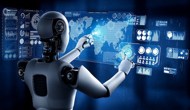 Ai humanoider roboter, der virtuellen hologrammbildschirm berührt konzept zeigt