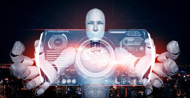 Ai humanoider roboter, der virtuellen hologrammbildschirm hält, der konzept des ai-gehirns zeigt