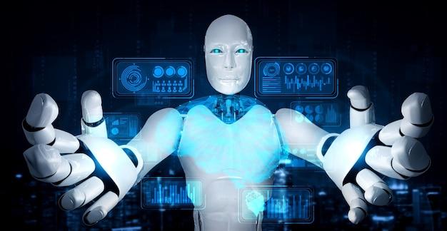 Ai humanoider roboter, der virtuellen hologrammbildschirm hält, der konzept von big data zeigt