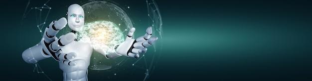 Ai humanoider roboter, der virtuellen hologrammbildschirm hält konzept des ai-gehirns zeigt