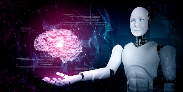 Ai humanoider roboter hält virtuellen hologrammbildschirm, der konzept des ai-gehirns zeigt