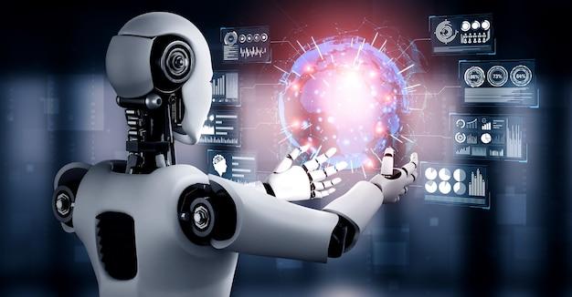 Ai humanoider roboter hält virtuellen hologrammbildschirm, der konzept von big data zeigt