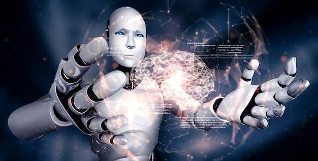 Ai humanoider roboter hält virtuellen hologrammbildschirm, der konzept zeigt
