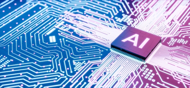Ai-mikroprozessor auf der motherboard-computerschaltung, künstliche intelligenz, die in der zentralprozessoreinheit oder dem cpu-chip integriert ist, 3d-rendering futuristischer hintergrund für das digitale datentechnologiekonzept