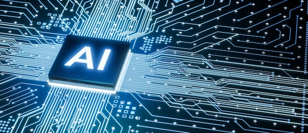 Ai-mikroprozessor auf der motherboard-computerschaltung, künstliche intelligenz, die in der zentralprozessoreinheit oder dem cpu-chip integriert ist, 3d-rendering futuristischer hintergrund für das konzept der digitalen datentechnologie