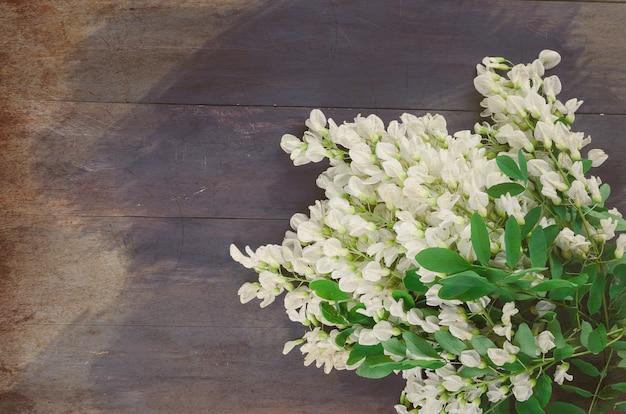 Akazienblumen auf einem dunklen hölzernen hintergrund