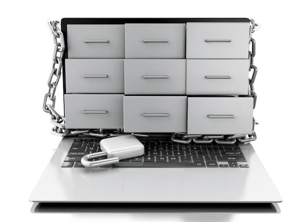 Aktenschränke 3d im laptop mit offenem vorhängeschloß.