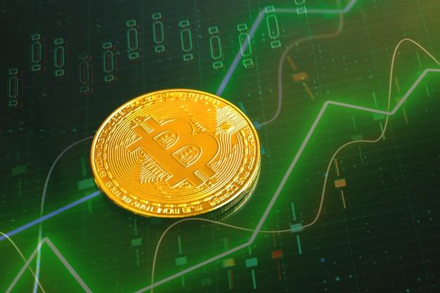 Aktiendiagramm und goldene bitcoin-münze, finanz- und kryptowährungsgeschäftshintergrundfoto