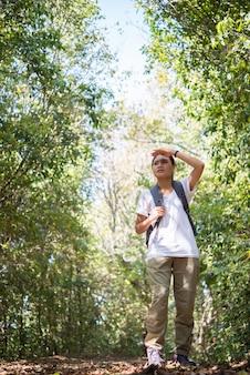 Aktive junge frau wanderer zu fuß, obwohl der wald mit der natur genießen.