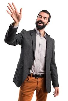 Aktiver gesten-gruß, der hispanisch aussieht