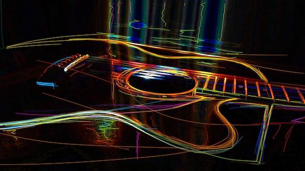 Akustische gitarre . abstrakte farbe neonmalerei.