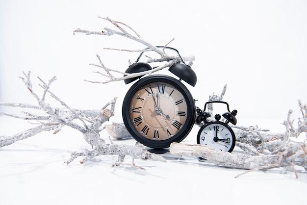 Alarm vintage kleine uhren mit weißen winterzweigen